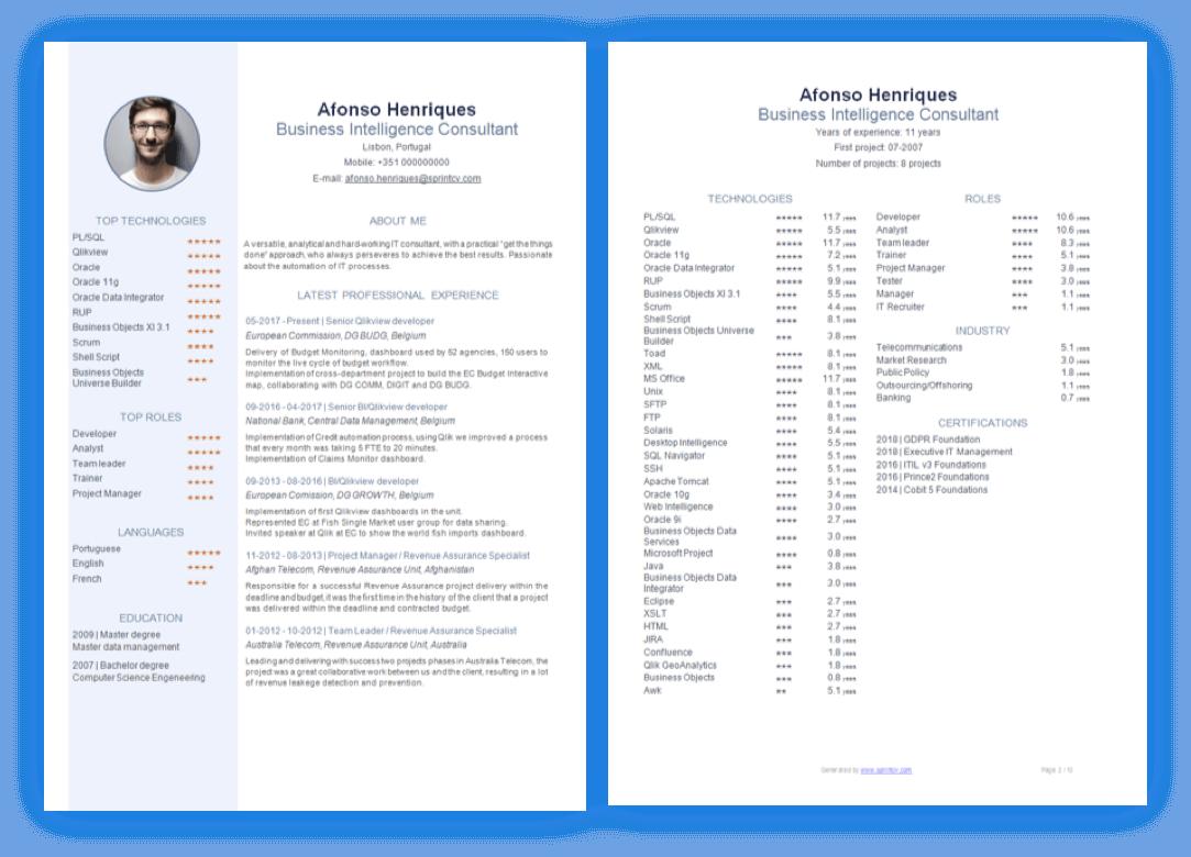 Sprintcv CV Template