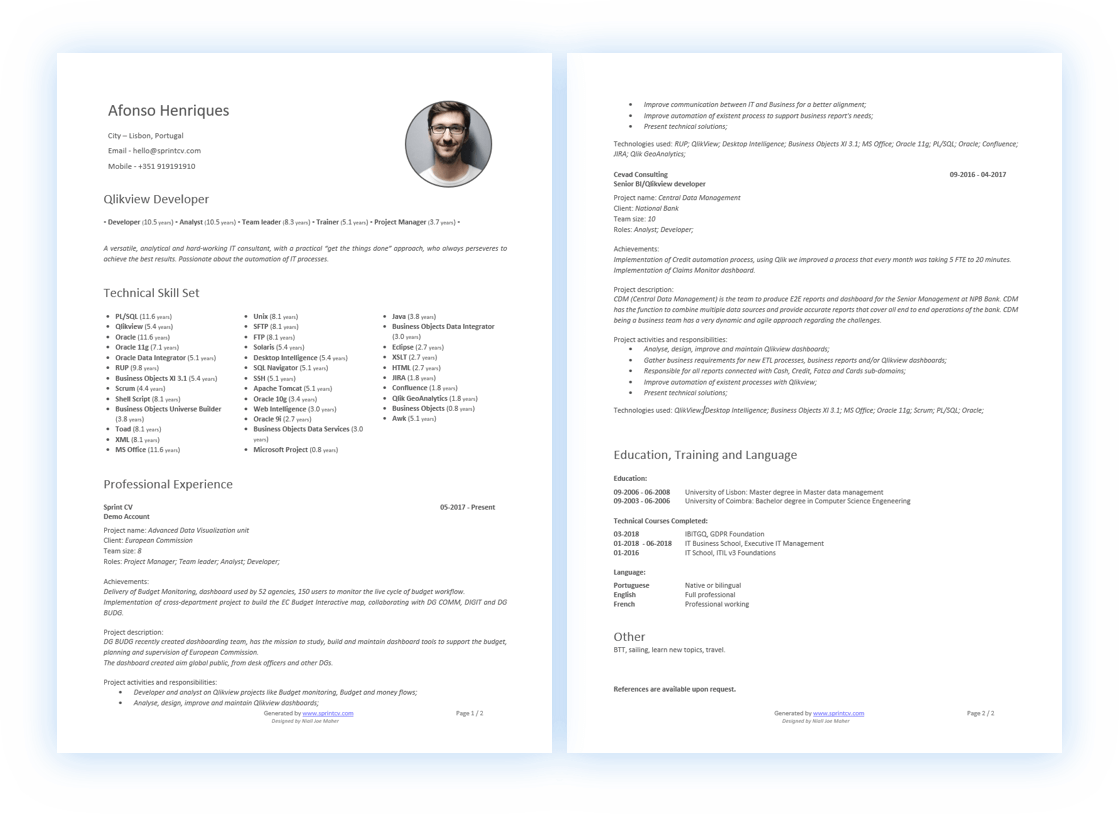 Proposed CV Template
